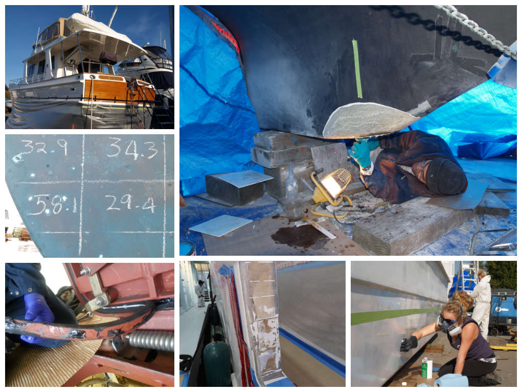 Yachts' fiberglass getting repaired by Northshore Yachtworks